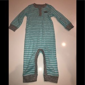 Carter's blue stripe one piece outfit turtle 9 mo